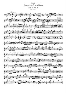 String Quartet No.7 in A Major, Hob.III/7 Op.2 No.1: Partes by Joseph Haydn