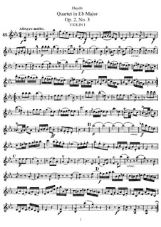 String Quartet in E Flat Major, Hob.III/9 Op.2 No.3: Partes by Joseph Haydn