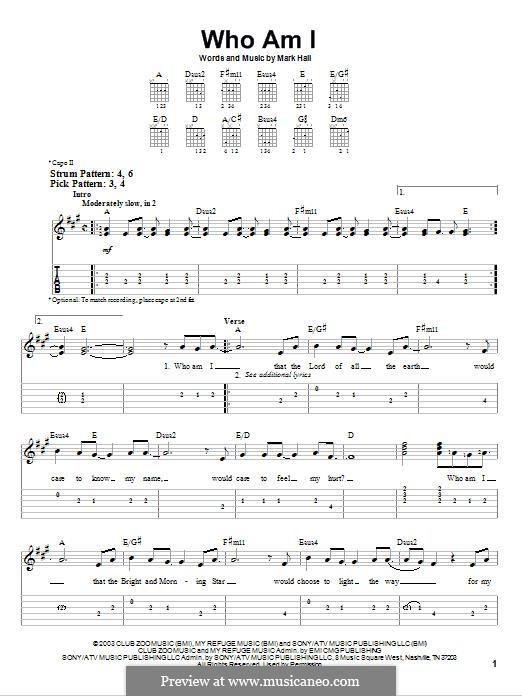 Who am I (Casting Crowns): Para Guitarra by Mark Hall