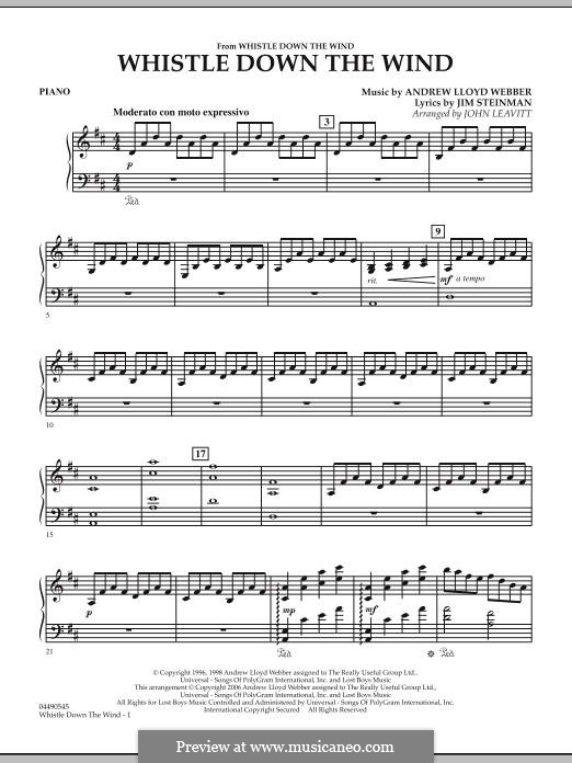 Whistle Down the Wind (from Whistle Down the Wind): parte piano by Andrew Lloyd Webber