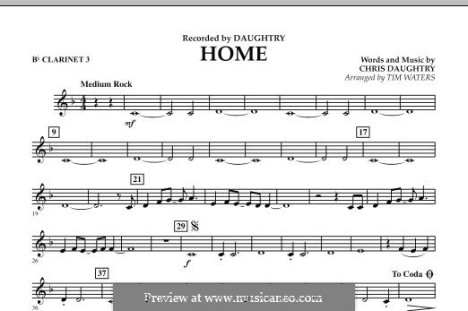 Home (Daughtry): Bb Clarinet 3 part by Chris Daughtry