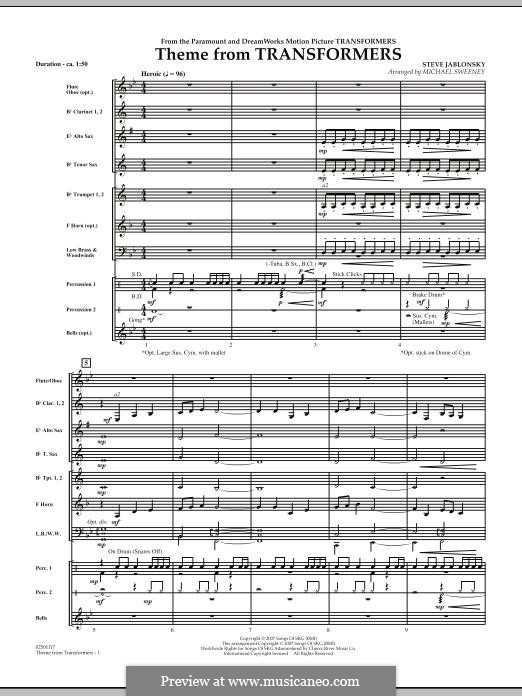 Theme from Transformers: partitura completa by Steve Jablonsky
