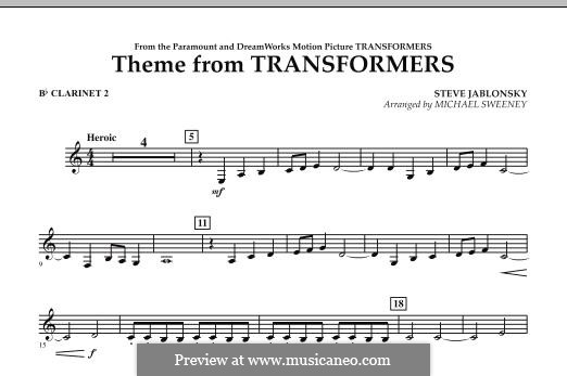 Theme from Transformers: Bb Clarinet 2 part by Steve Jablonsky