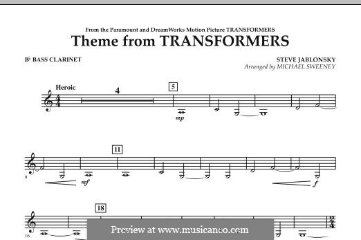 Theme from Transformers: Bb Bass Clarinet part by Steve Jablonsky