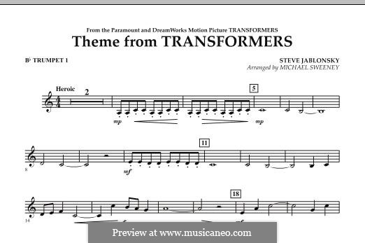 Theme from Transformers: Bb Trumpet 1 part by Steve Jablonsky
