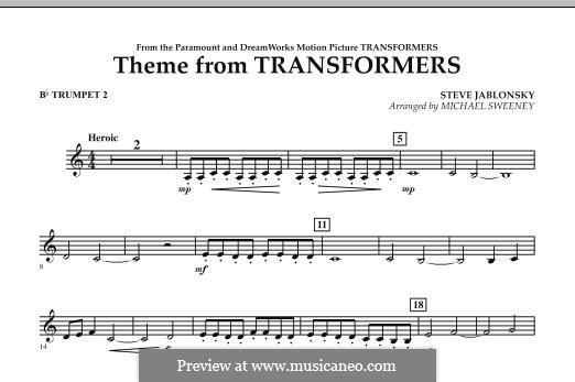 Theme from Transformers: Bb Trumpet 2 part by Steve Jablonsky