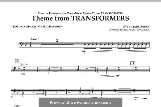 Theme from Transformers: Trombone/Baritone B.C./Bassoon part by Steve Jablonsky
