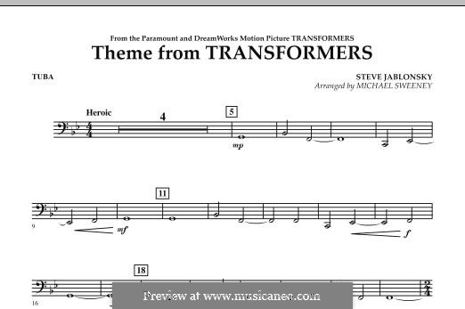 Theme from Transformers: Tuba, partes by Steve Jablonsky