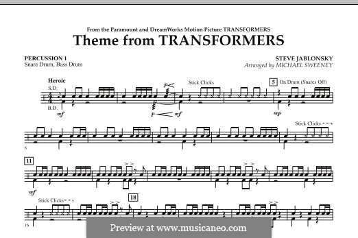 Theme from Transformers: Percussion 1 part by Steve Jablonsky