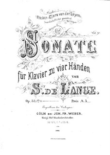 Sonata in E Minor for Piano Four Hands, Op.33: Sonata in E Minor for Piano Four Hands by Samuel de Lange Jr.
