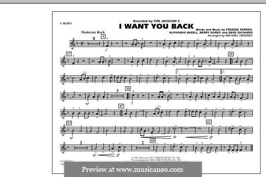 I Want You Back (The Jackson 5): F Horn part by Alphonso Mizell, Berry Gordy, Deke Richards, Freddie Perren
