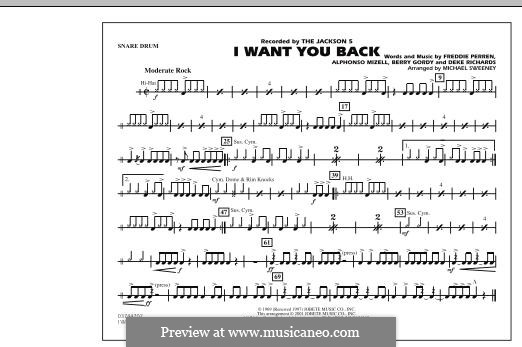 I Want You Back (The Jackson 5): Snare Drum part by Alphonso Mizell, Berry Gordy, Deke Richards, Freddie Perren