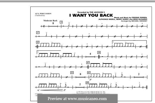 I Want You Back (The Jackson 5): Aux Percussion part by Alphonso Mizell, Berry Gordy, Deke Richards, Freddie Perren