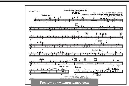 ABC, for Orchestra (arr. Michael Sweeney): Flute/Piccolo part by Alphonso Mizell, Berry Gordy, Deke Richards, Freddie Perren