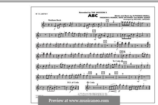 ABC, for Orchestra (arr. Michael Sweeney): Bb Clarinet part by Alphonso Mizell, Berry Gordy, Deke Richards, Freddie Perren