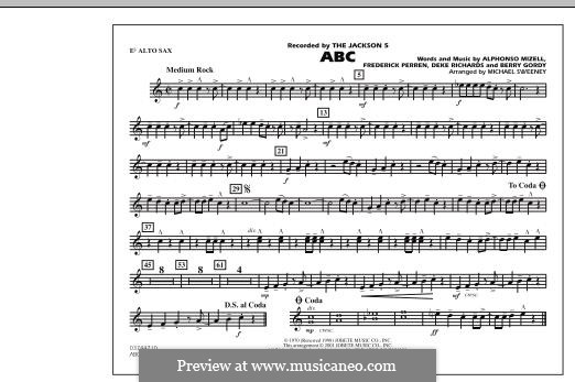 ABC, for Orchestra (arr. Michael Sweeney): Eb Alto Sax part by Alphonso Mizell, Berry Gordy, Deke Richards, Freddie Perren