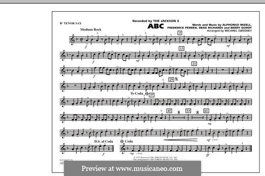 ABC, for Orchestra (arr. Michael Sweeney): Bb Tenor Sax part by Alphonso Mizell, Berry Gordy, Deke Richards, Freddie Perren