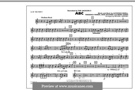 ABC, for Orchestra (arr. Michael Sweeney): 1st Bb Trumpet part by Alphonso Mizell, Berry Gordy, Deke Richards, Freddie Perren