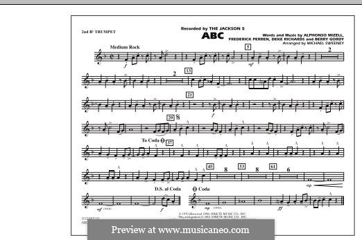 ABC, for Orchestra (arr. Michael Sweeney): 2nd Bb Trumpet part by Alphonso Mizell, Berry Gordy, Deke Richards, Freddie Perren