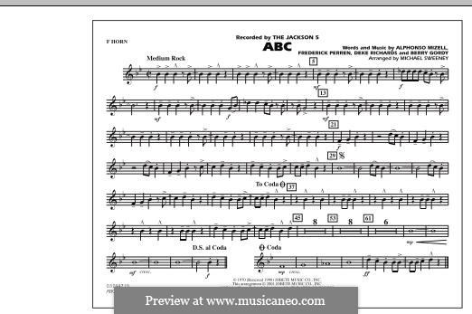 ABC, for Orchestra (arr. Michael Sweeney): F Horn part by Alphonso Mizell, Berry Gordy, Deke Richards, Freddie Perren