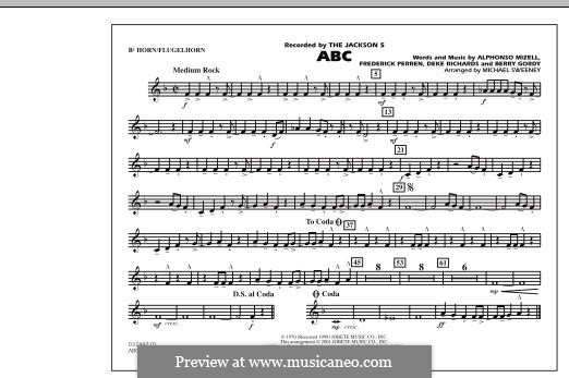 ABC, for Orchestra (arr. Michael Sweeney): Bb Horn/Flugelhorn part by Alphonso Mizell, Berry Gordy, Deke Richards, Freddie Perren
