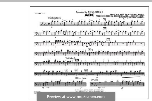 ABC, for Orchestra (arr. Michael Sweeney): parte trombone by Alphonso Mizell, Berry Gordy, Deke Richards, Freddie Perren