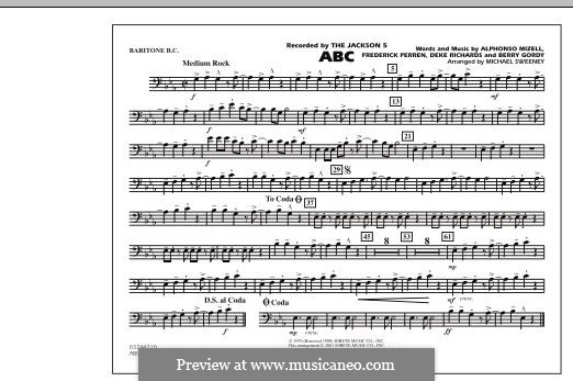 ABC, for Orchestra (arr. Michael Sweeney): Baritone B.C. (Opt. Tbn. 2) part by Alphonso Mizell, Berry Gordy, Deke Richards, Freddie Perren