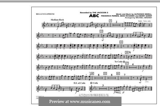 ABC, for Orchestra (arr. Michael Sweeney): Bells/Xylophone part by Alphonso Mizell, Berry Gordy, Deke Richards, Freddie Perren