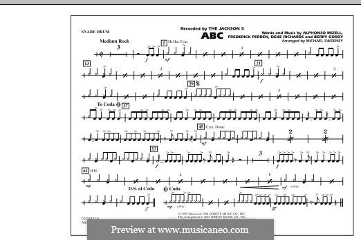 ABC, for Orchestra (arr. Michael Sweeney): Snare Drum part by Alphonso Mizell, Berry Gordy, Deke Richards, Freddie Perren