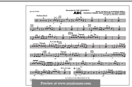 ABC, for Orchestra (arr. Michael Sweeney): Quad Toms part by Alphonso Mizell, Berry Gordy, Deke Richards, Freddie Perren