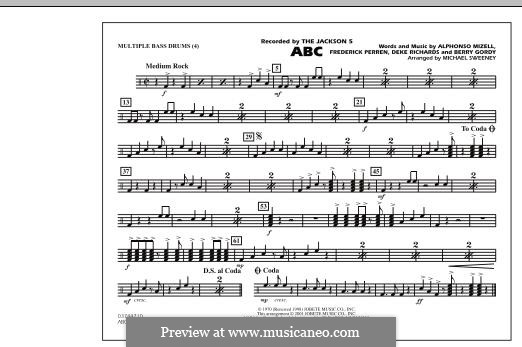 ABC, for Orchestra (arr. Michael Sweeney): Multiple Bass Drums part by Alphonso Mizell, Berry Gordy, Deke Richards, Freddie Perren