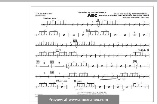 ABC, for Orchestra (arr. Michael Sweeney): Aux Percussion part by Alphonso Mizell, Berry Gordy, Deke Richards, Freddie Perren