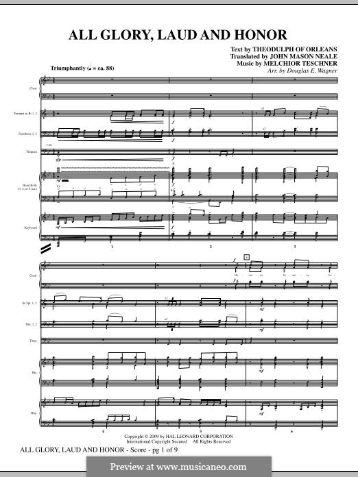 All Glory, Laud and Honor: partitura completa by Melchior Teschner