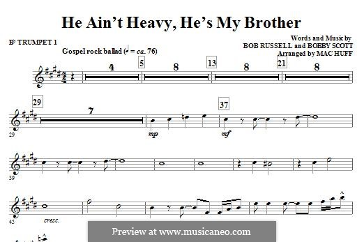 He Ain't Heavy, He's My Brother: For ensemble - Bb Trumpet 1 part by Bobby Scott