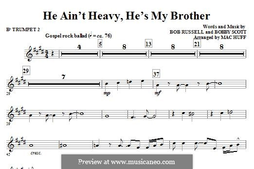 He Ain't Heavy, He's My Brother: For ensemble - Bb Trumpet 2 part by Bobby Scott