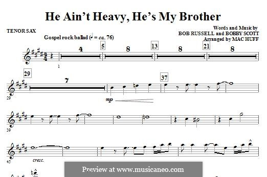 He Ain't Heavy, He's My Brother: For ensemble - Bb Tenor Saxophone part by Bobby Scott
