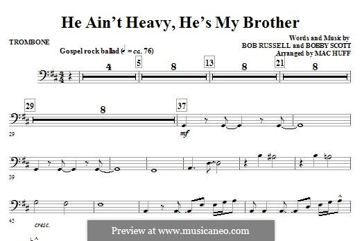 He Ain't Heavy, He's My Brother: For ensemble - Trombone part by Bobby Scott