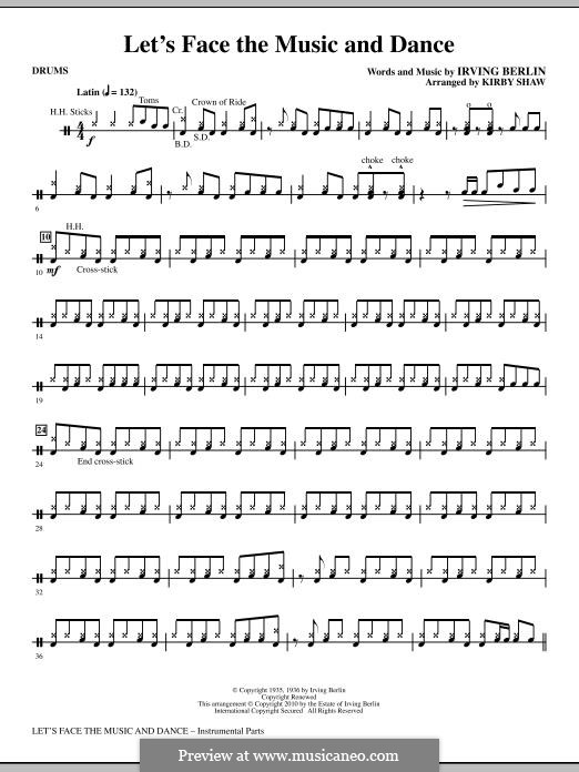 Let's Face the Music and Dance: Drums part by Irving Berlin
