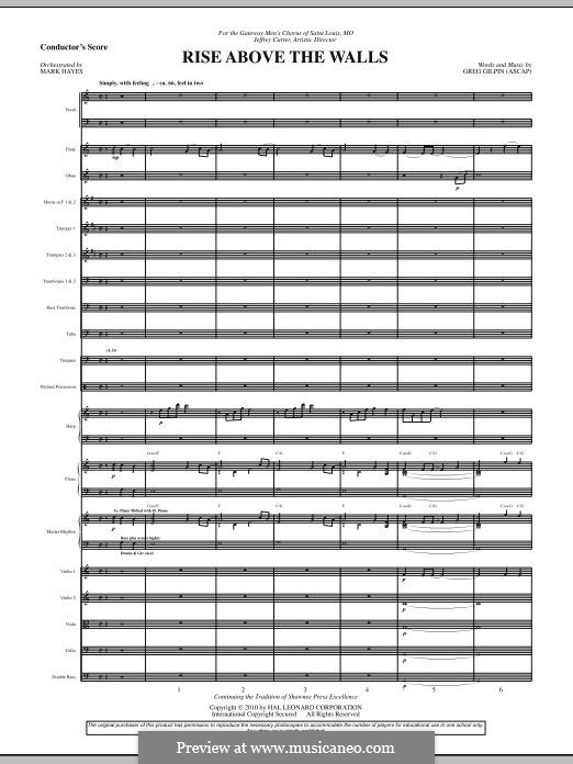 Rise Above the Walls: partitura completa by Greg Gilpin