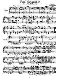 Five Variations on the Popular English Song 'Rule Britannia', WoO 79: Para Piano by Ludwig van Beethoven