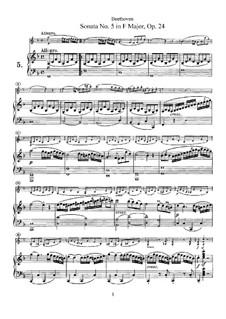 Sonata for Violin and Piano No.5 'Spring', Op.24: Score, Parte de solo by Ludwig van Beethoven