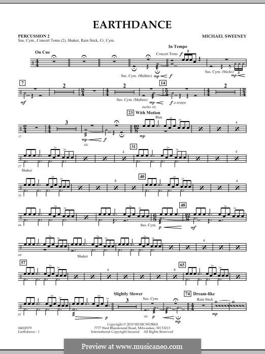 Earthdance: Percussion 2 part by Michael Sweeney