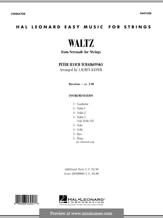 Serenade for String Orchestra, TH 48 Op.48: Waltz - Full Score by Pyotr Tchaikovsky