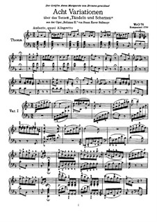 Eight Variations on Theme from 'Soliman II' by F. Süssmayr, WoO 76: Para Piano by Ludwig van Beethoven