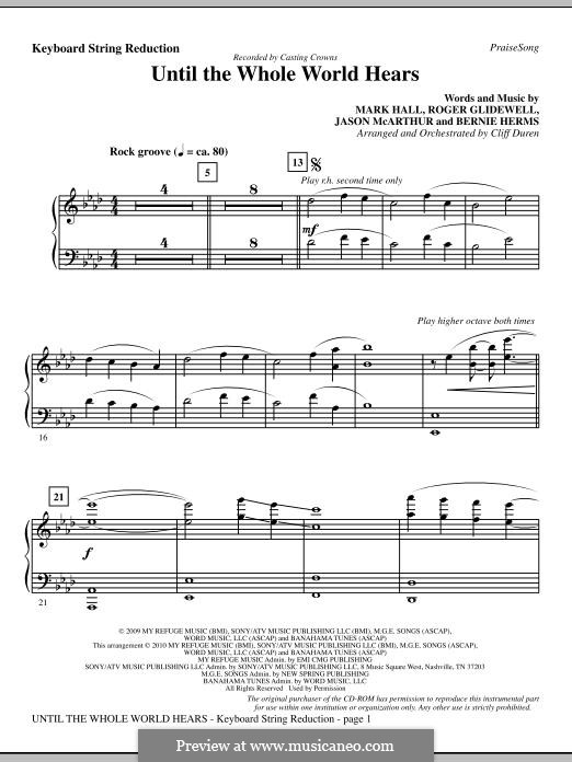 Until the Whole World Hears (Casting Crowns): Keyboard String Reduction by Bernie Herms, Jason McArthur, Mark Hall, Roger Glidewell