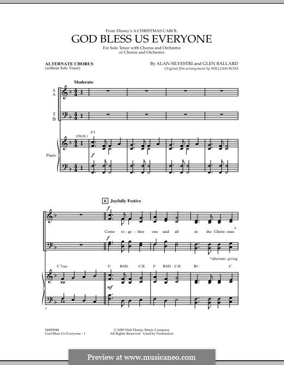 God Bless Us Everyone (arr. William Ross): Alternate Chorus part by Alan Silvestri, Glen Ballard