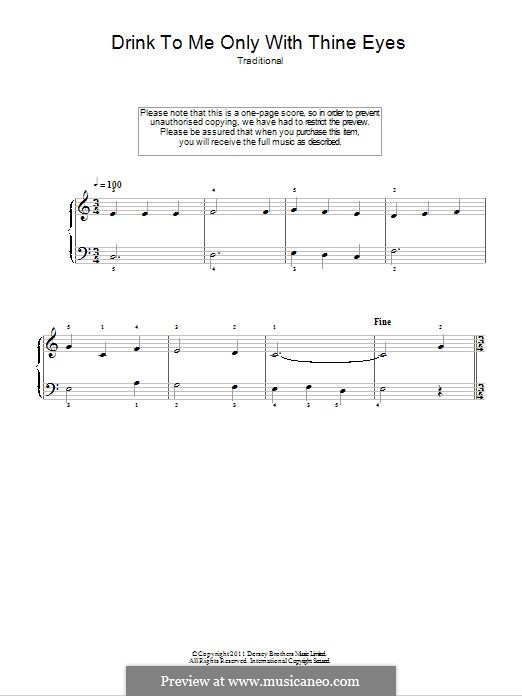 Drink to Me Only with Thine Eyes: Para Piano by folklore