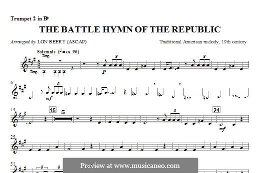 Battle Hymn of the Republic: For winds - Trumpet 2 part by William Steffe