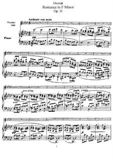 Romance in F Minor, B.39 Op.11: para violino by Antonín Dvořák