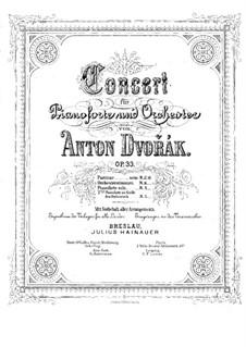 Concerto for Piano and Orchestra in G Minor, B.63 Op.33: versão para dois pianos de quatro mãos - piano parte I by Antonín Dvořák